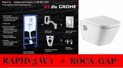 GROHE RAPID 5w1 + Roca GAP z deską wolnoopadają