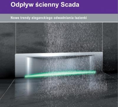 KESSEL SCADA WAVE odpływ ścienny z podświetleniem LED RGB