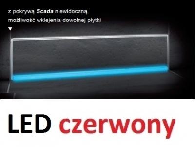 KESSEL SCADA odpływ liniowy ścienny model do wklejenia płyki z podświetleniem LED czerwonym