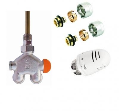 HERZ zawór termostatyczny 4-drog grzejnikowy VUA40 katowy + głowica + złączki PEX