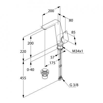 KLUDI AMEO jednouchwytowa bateria umywalkowa uchwyt boczny