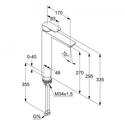 KLUDI AMEO jednouchwytowa bateria umywalkowa wysoka 270 mm