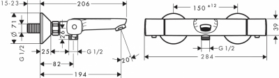 HANSGROHE Ecostat Bateria termostatyczna wannowa montaż natynkowy