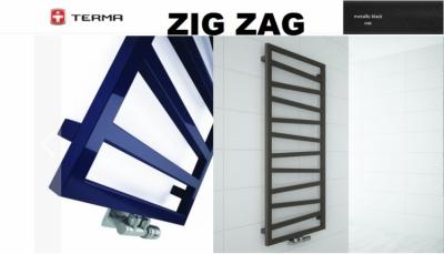 TERMA grzejnik łazienkowy ZIG ZAG 500 x 1070 mm METALLIC BLACK podłączenie środkowe Z8