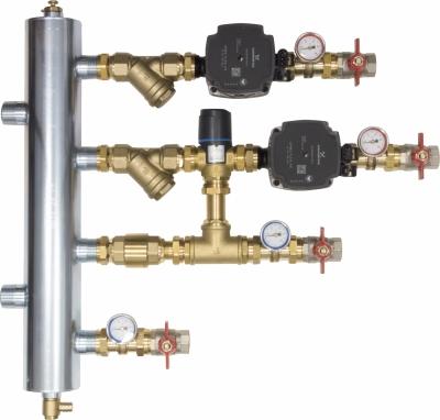 AFRISO Zestaw mieszający ze sprzęgłem hydraulicznym BPS, człon bez mieszania i z zaworem termostatycznym ATM 561