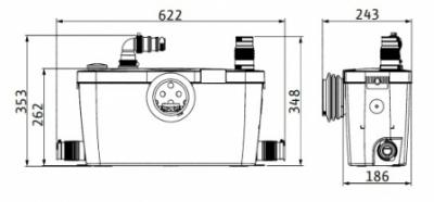 WILO pompa z rozdrabniaczem HiSewlift 3-35 - do WC + umywalka , prysznic, bidet, wanna