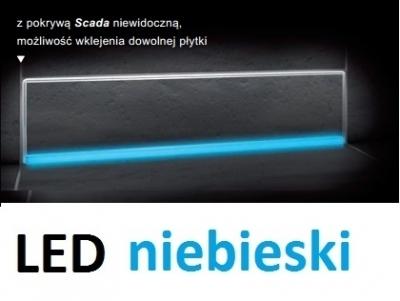 KESSEL SCADA odpływ liniowy ścienny model do wklejenia płytki z podświetleniem LED niebieski