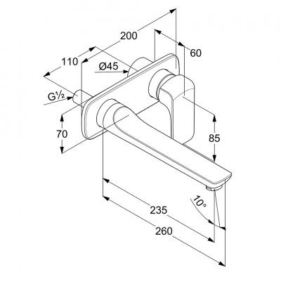 KLUDI AMEO ścienna bateria umywalkowa podtynkowa wylewka 235 mm