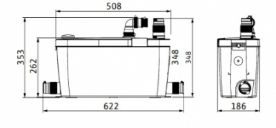WILO HiDrainlift 3-37 pompa do zmywalki , pralki do 75°C