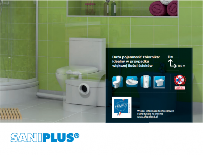 SFA Saniplus Silence pompa rozdrabniacz do WC + umywalka , prysznic , bidet