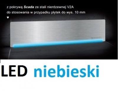 KESSEL SCADA odpływ liniowy ścienny model stal nierdzewna V2A z podświetleniem LED niebieski