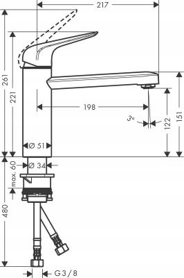 HANSGROHE M421-H120 bateria kuchenna chrom