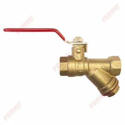 FERRO Zawór kulowy wodny 1/2 cala , z dławikiem i filtrem skośnym