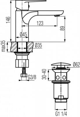 VALVEX DALI Bateria umywalkowa stojąca z automatycznym korkiem spustowym