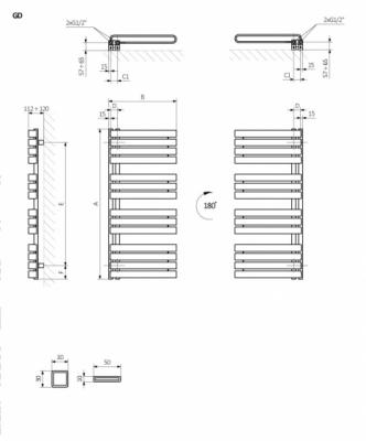 TERMA Grzejnik łazienkowy WARP S 1110x600 kolor GRAPHITE