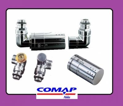 COMAP zawór termostatyczny + powrotny CHROM DESIGN