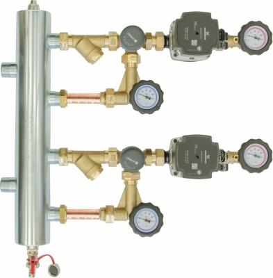 Zestaw mieszający ze sprzęgłem hydraulicznym BPS 966, dwa człony z zaworem obrotowym ARV 362, pompy Grundfos UPM3