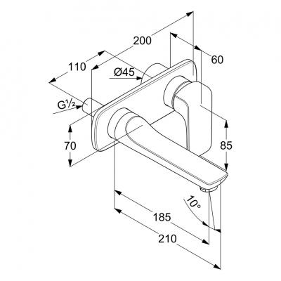 KLUDI AMEO ścienna bateria umywalkowa podtynkowa wylewka 185 mm
