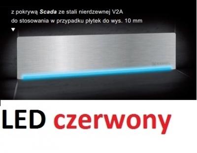 KESSEL SCADA odpływ liniowy ścienny model stal nierdzewna V2A z podświetleniem LED czerwonym