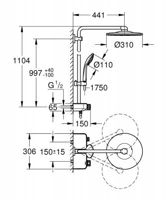 GROHE Euphoria System SmartControl 310 DuoSystem prysznicowy z termostatem do montażu ściennego EUPHORIA SYSTEM SMARTCONTROL 310 DUO SYSTEM PRYSZNICOWY Z TERMOSTATEM DO MONTAŻU ŚCIENNEGO