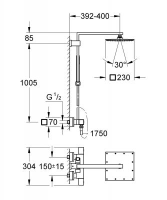 GROHE Euphoria Cube System 230 System prysznicowy z termostatem do montażu ściennego