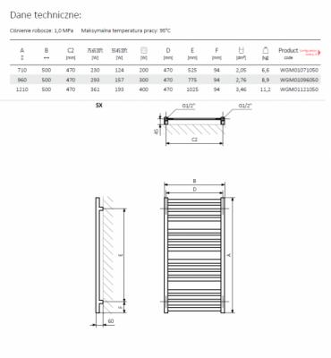 TERMA  M01 960x500 grzejnik łazienkowy CHROM