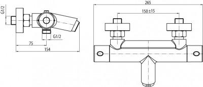 VALVEX ESTILL ROUND PLUS Bateria wannowa termostatyczna + zestaw natryskowy FARO