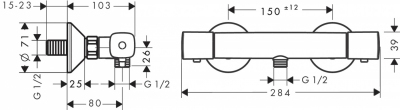 HANSGROHE Ecostat Bateria termostatyczna prysznicowa montaż natynkowy