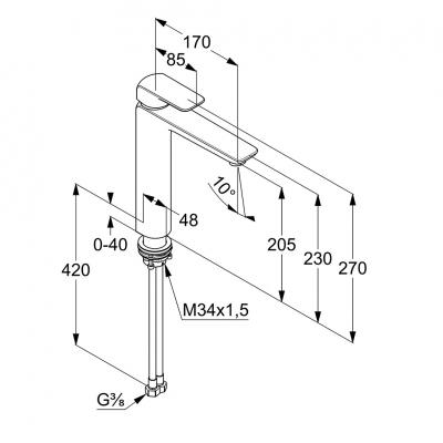 KLUDI AMEO jednouchwytowa bateria umywalkowa wysoka 205 mm