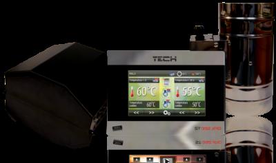 TECH ST-392 zPID dotykowy sterownik kominka z płaszczem wodnym + przepustnica fi 100