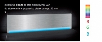 KESSEL SCADA odpływ liniowy ścienny model stal nierdzewna V2A z podświetleniem LED RGB