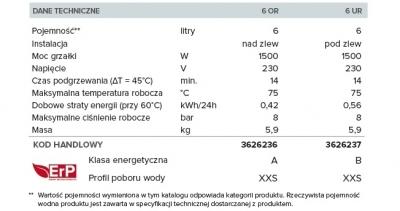 ARISTON ANDRIS 6 LUX elektryczny pojemnościowy ogrzewacz wody PODUMYWALKOWY - 6 litrów