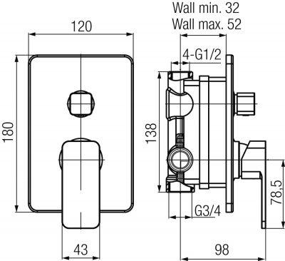 VALVEX LOFT Bateria podtynkowa 3-funkcyjna