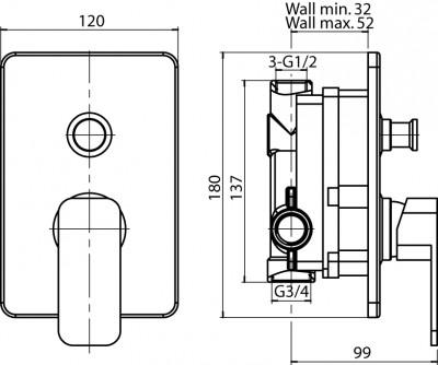 VALVEX LOFT Bateria wannowo-natryskowa podtynkowa
