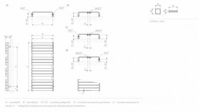 Terma  WARP T 1110x600  CZARNY MAT grzejnik łazienkowy , podłączenie Z8