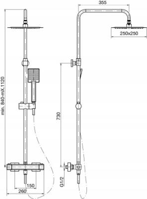 VALVEX CUBUS BLACK zestaw deszczownica termostat