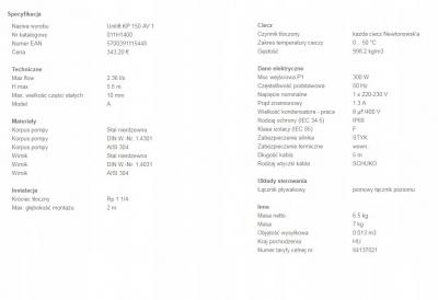 GRUNDFOS Unilift KP 150AV1 pompa pływak pionowy