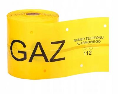 Taśma żółta z wkładką stalową GAZ 20cm x 50 m