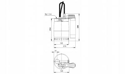 GRUNDFOS Unilift KP 250AV1 pompa pływak pionowy