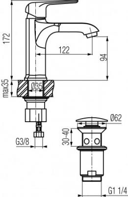 VALVEX AURORA ROSE GOLD Bateria umywalkowa stojąca z automatycznym korkiem spustowym