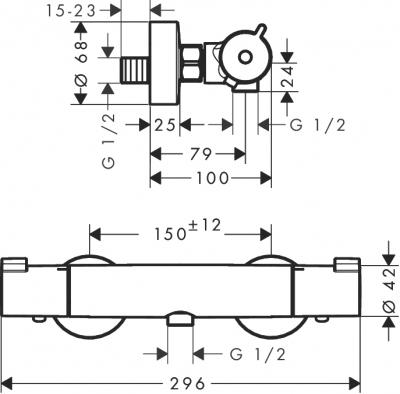 HANSGROHE Ecostat 1001 CL Bateria termostatyczna prysznicowa, montaż natynkowy, DN15
